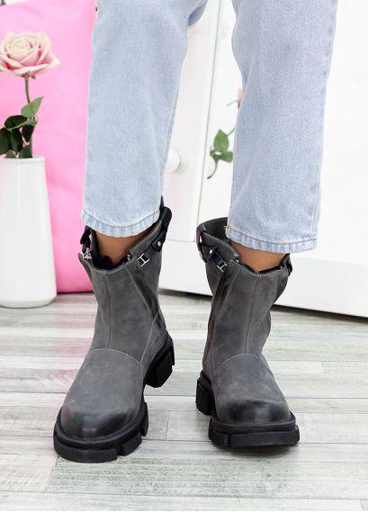 Ботинки кожаные Crazy серые 7608-28
