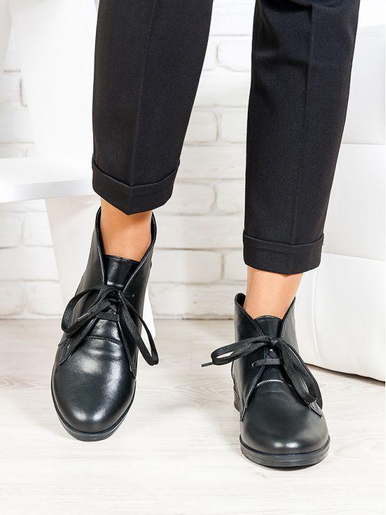 Ботинки Gretta черная кожа 6658-28