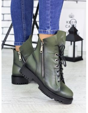 Ботинки Angelina оливка шкіра 6720-28
