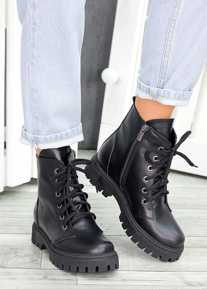 Ботiнки на шнурівці чорна шкіра 7459-28