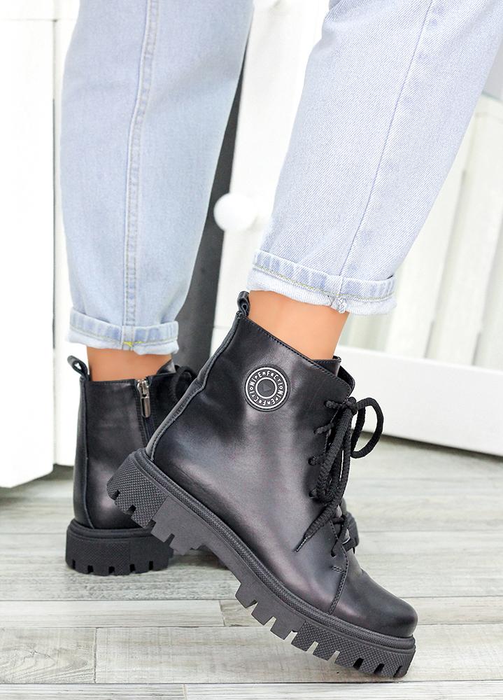 Ботiнки на шнурівці чорна шкіра 7462-28