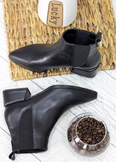 Ботiнки Челсі чорні з гострим носком 7508-28