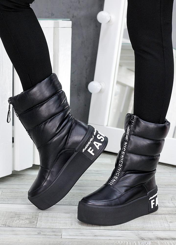 Зимние ботинки дутики кожаные 7513-28