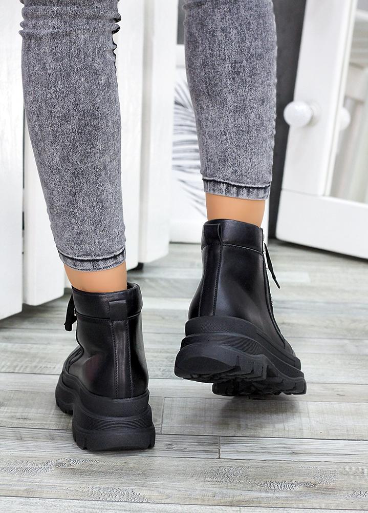 Ботинки черная кожа Aleksa 7523-28