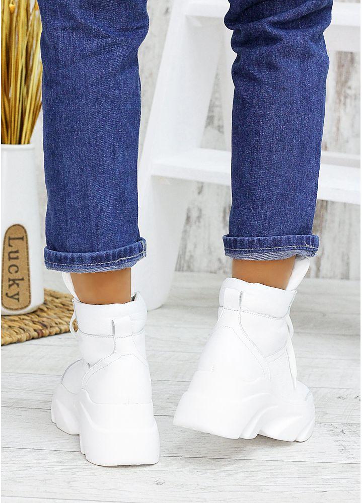 Ботинки кожаные Grand белые 7538-28