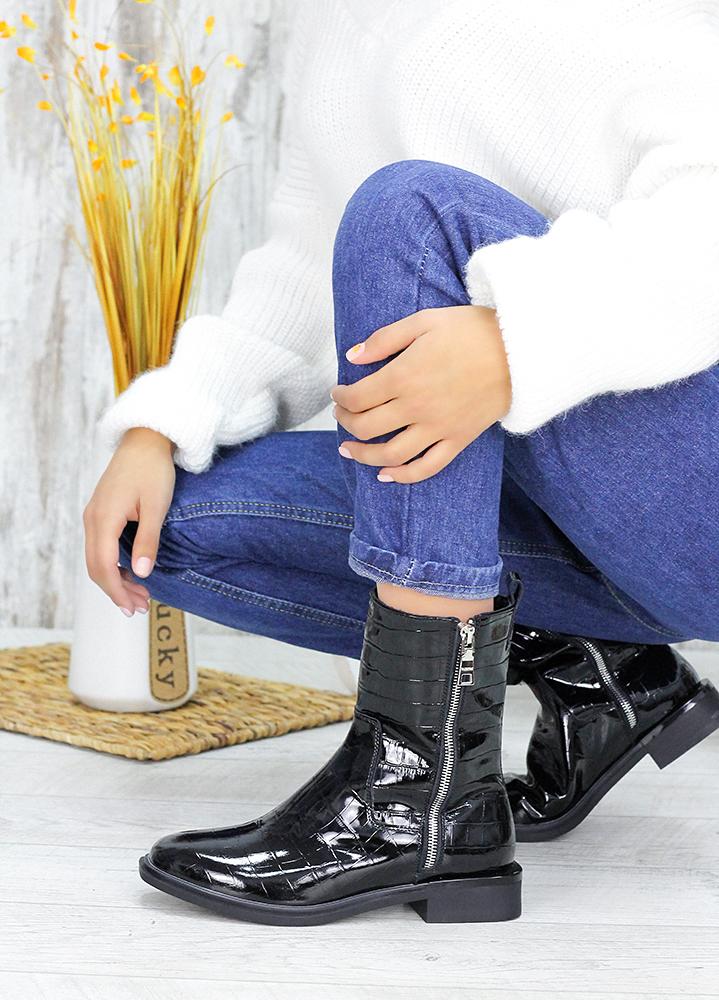 Ботинки лаковая кожа Black 7548-28