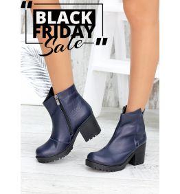 Ботинки АКЦІЯ синя шкіра 7570-28