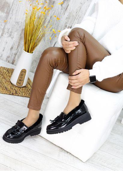Зимние меховые туфли лак-кожа 7582-28