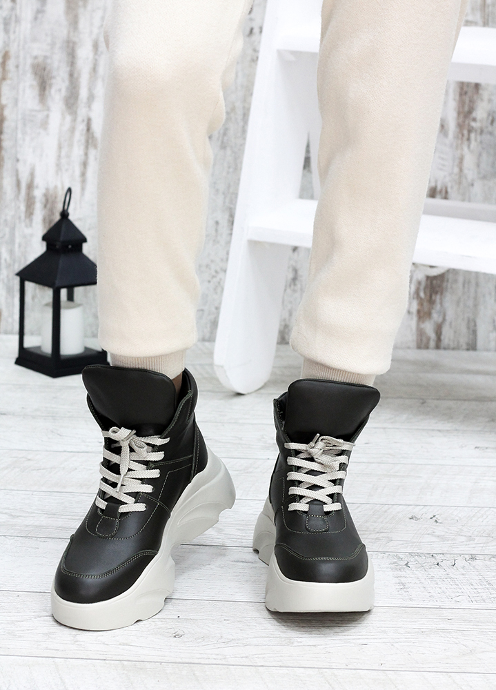 Ботинки кожаные Grand хаки 7592-28