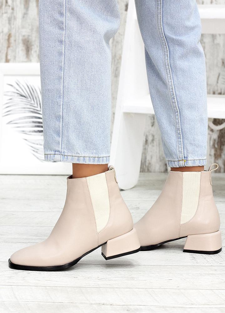 Ботинки кожаные челси беж 7594-28