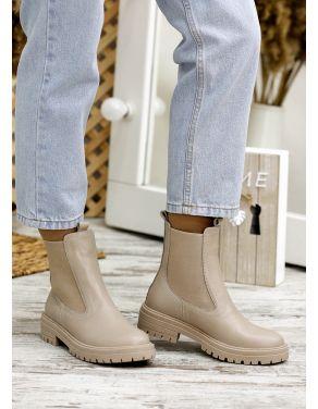 Ботинки з резинкою беж шкіра 7803-28