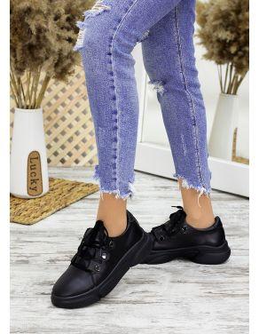 Кросівки шкіряні чорні 7685-28