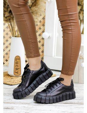 Кросівки чорна шкіра Zipper 7786-28