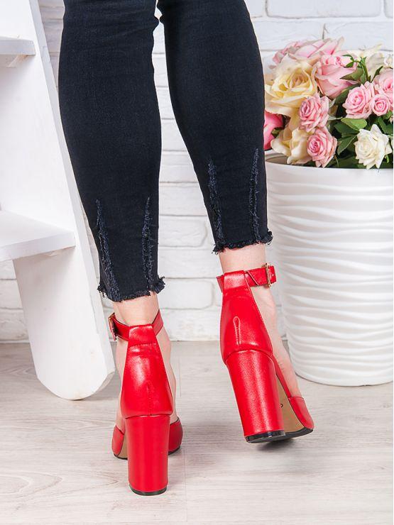 Босоножки - туфли Bogemiya красная кожа 7073-28