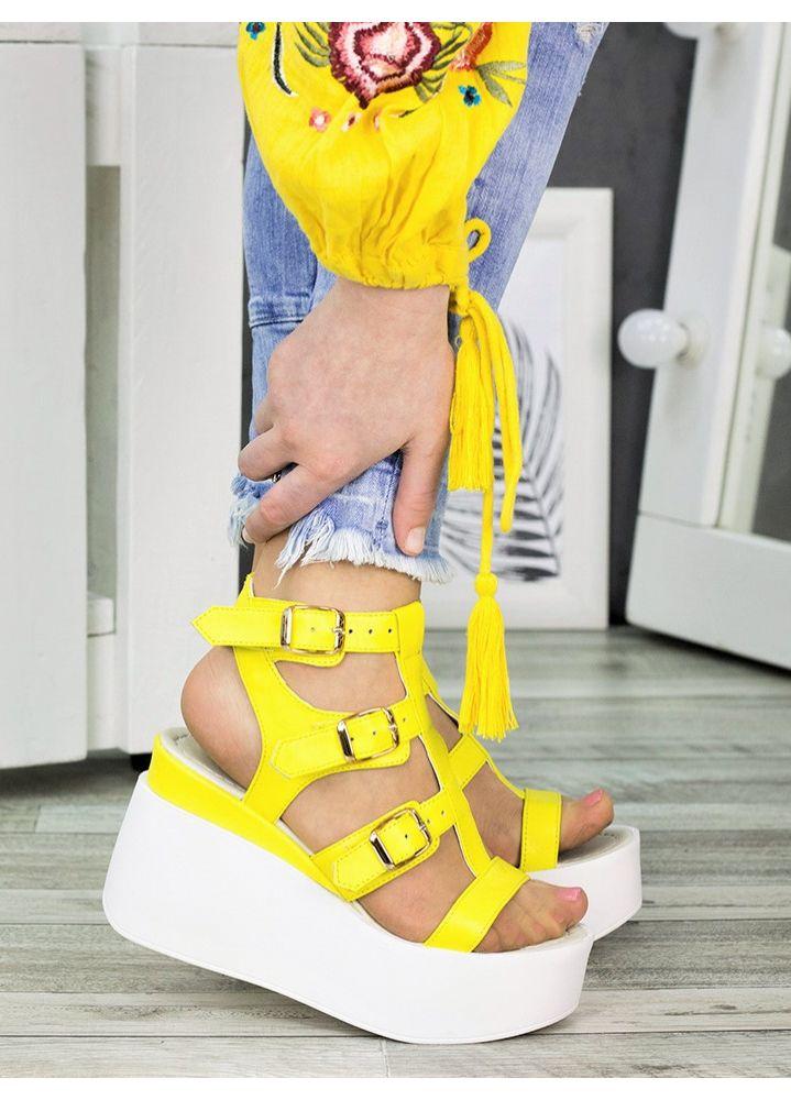 Босоножки желтые Портупея 7313-28