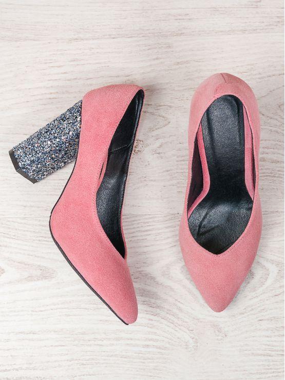 Туфли на толстом каблуке пудра стекло 6470-28