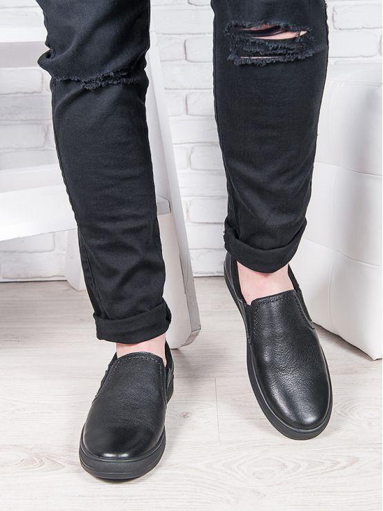 Мужские черные кожаные слипоны 6895-28