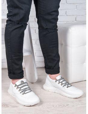 Чоловічі білі шкіряні кросівки 6908-28