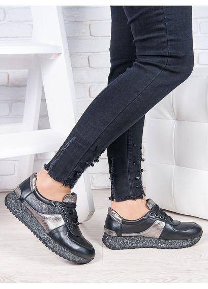 Кросівки шкіра чорний графіт Лола 6921-28