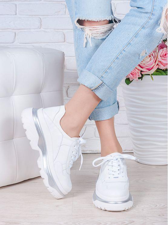 Кроссовки кожаные Balenc!aga белые 7001-28