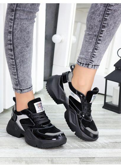 Кроссовки кожаные Ba!enc!aga черные 7449-28