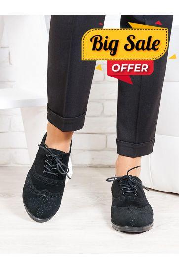Oksford туфлі чорна замша 6649-28