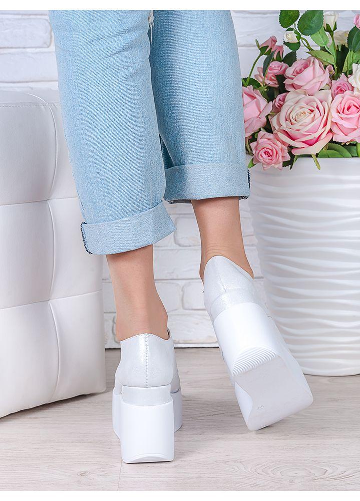 Туфлі на високій платформі шампань шкіра 7022-28