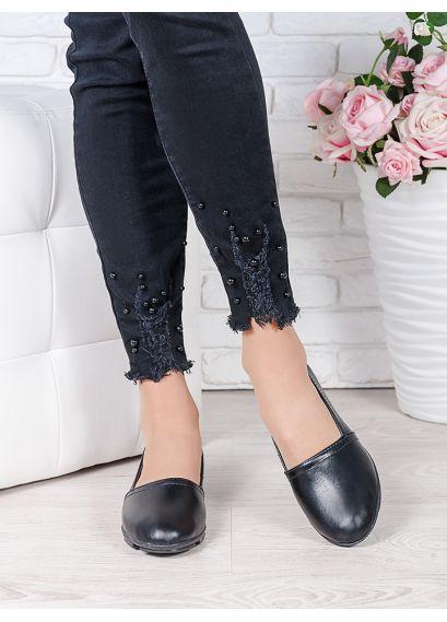 Туфлі мокасини чорна шкіра 7023-28