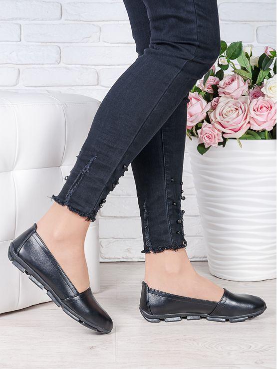 Туфли мокасины черная кожа 7023-28