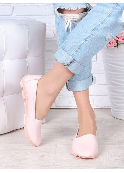 Туфлі мокасини пудра шкіра 7026-28