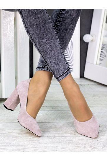 Туфли на каблуке пудра замша 7243-28