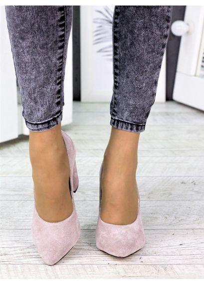 Туфлі на каблуці пудра замша 7243-28