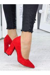 Туфли на каблуке красная замша 7244-28