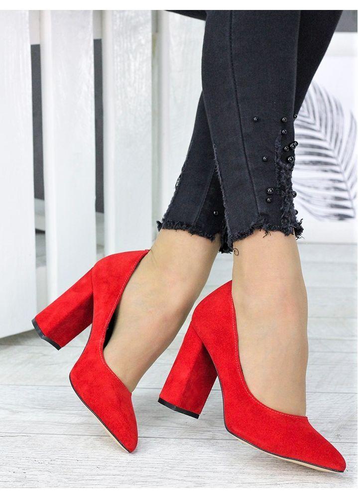 Туфлі на каблуці  червона замша 7244-28