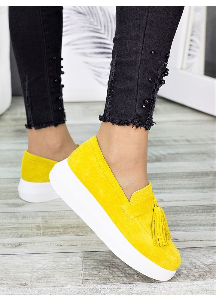 Туфли лоферы замша лимон 7274-28