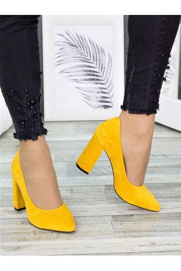 Туфли на каблуке горчица замша 7278-28