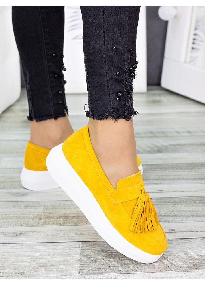 Туфли лоферы горчица замша 7280-28
