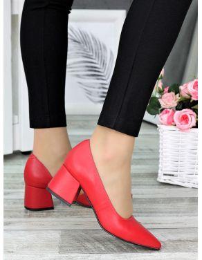 Туфлі лодочки червона шкіра Laura 7328-28