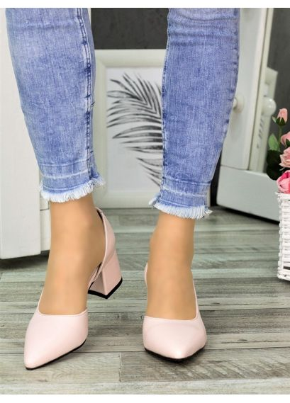 Туфлі лодочки пудра шкіра Laura 7329-28