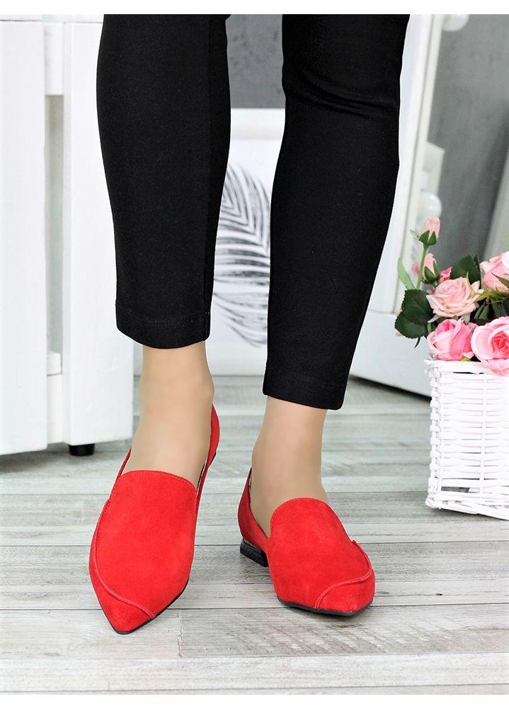 Туфлі лодочки на низькому ходу червоні 7366-28
