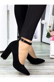Туфли лодочки с ремешком черн. замша 7369-28