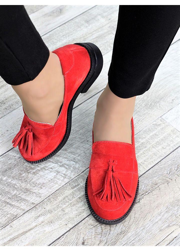 Туфли лоферы №2 красная замша 7375-28