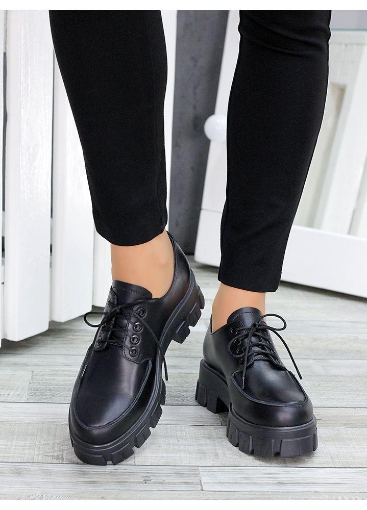 Туфли броги черная кожа 7469-28