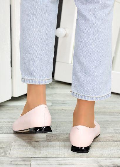 Туфлі лодочки пудра шкіра Magic 7484-28