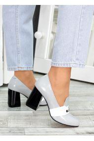 !Туфли кожа серый лак Loft 7486-28