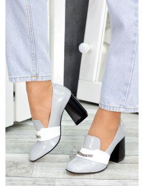 Туфлі шкіряні сірий лак Loft 7486-28