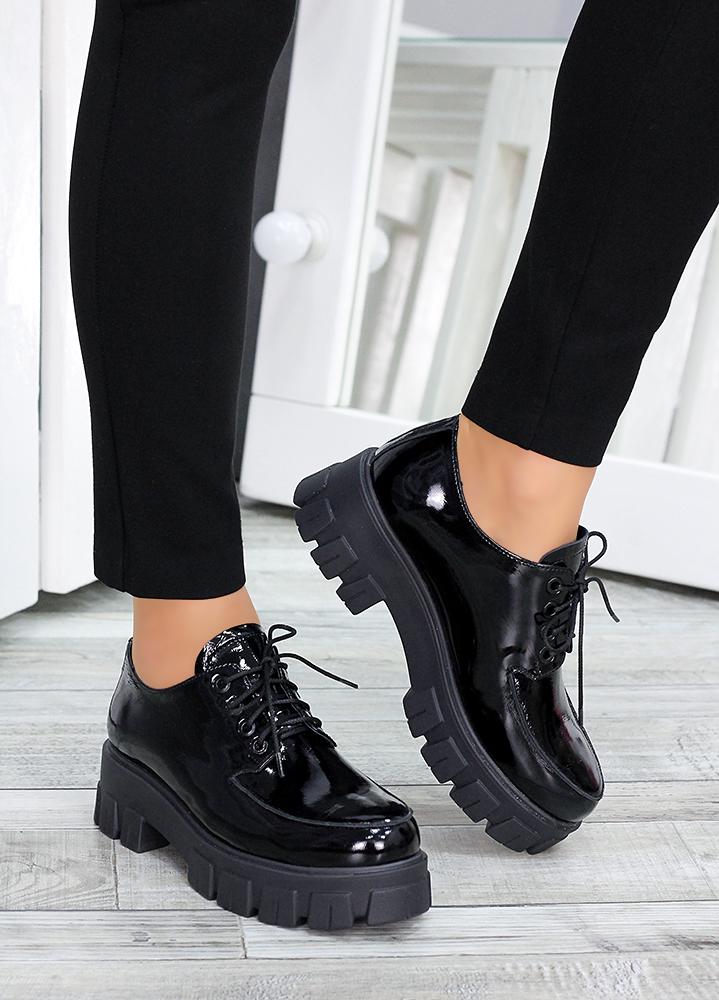 Туфли броги черная лак-кожа 7494-28