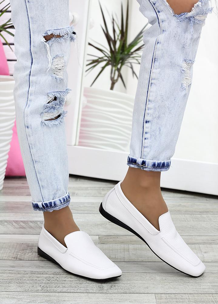 Туфли мокасины белые кожаные 7622-28