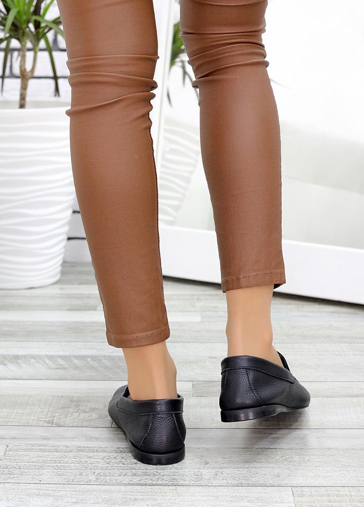 Туфли мокасины черные кожаные 7636-28