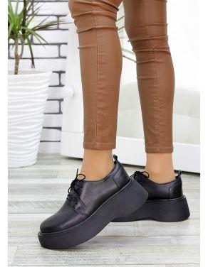 Туфлі броги чорна шкіра 7638-28